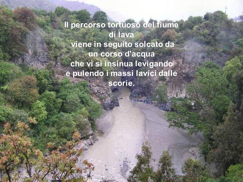 Il percorso tortuoso del fiume di lava viene in seguito solcato da un corso d acqua che vi si insinua levigando e pulendo i massi lavici dalle scorie.