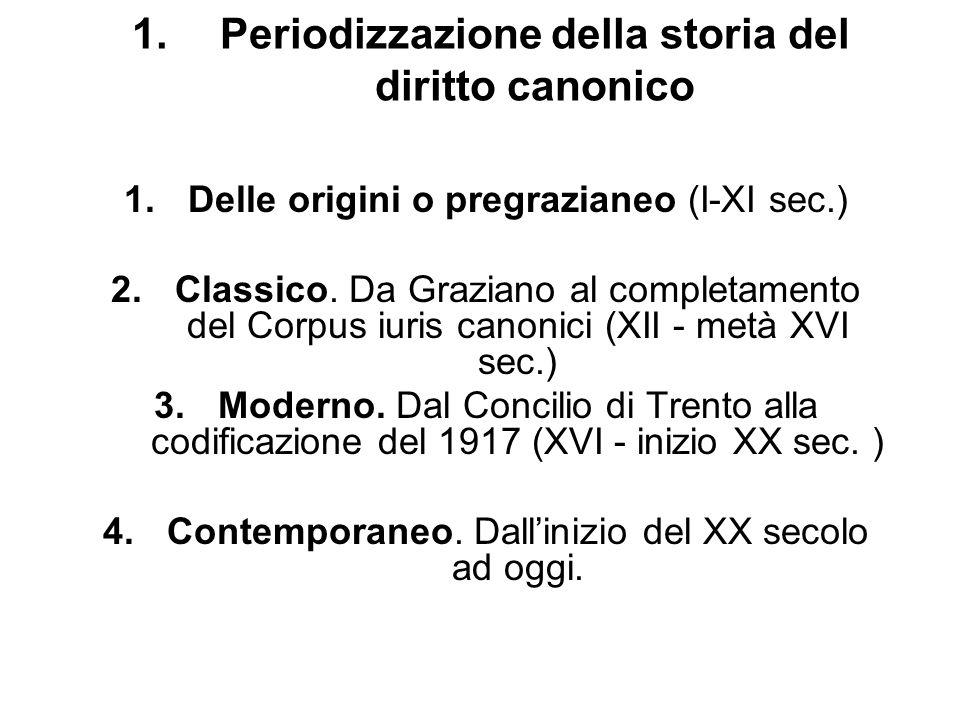 1.Periodizzazione della storia del diritto canonico 1.Delle origini o pregrazianeo (I-XI sec.) 2.Classico. Da Graziano al completamento del Corpus iur