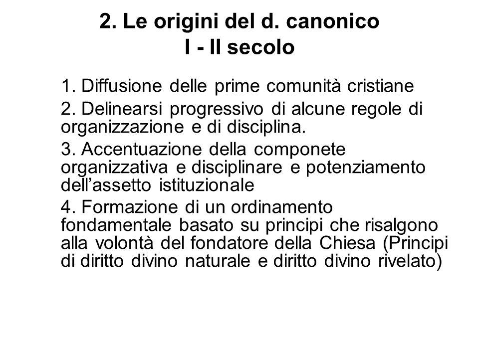 2. Le origini del d. canonico I - II secolo 1. Diffusione delle prime comunità cristiane 2. Delinearsi progressivo di alcune regole di organizzazione