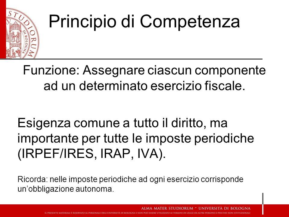 Criteri di Imputazione Temporale Principio di Cassa vs Principio di Competenza