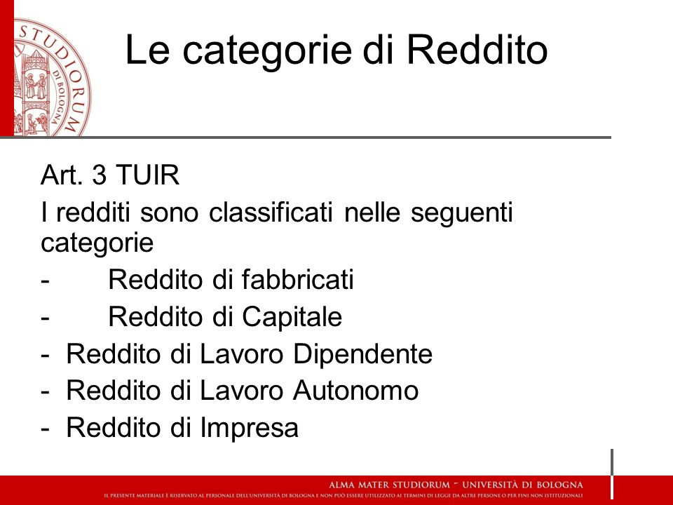 Le categorie di Reddito Art.