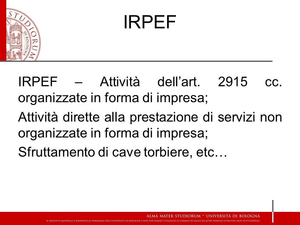 IRPEF IRPEF – Attività dellart. 2915 cc.
