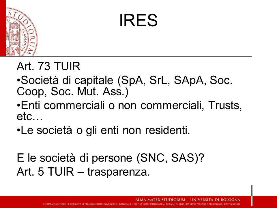 IRES Art. 73 TUIR Società di capitale (SpA, SrL, SApA, Soc.