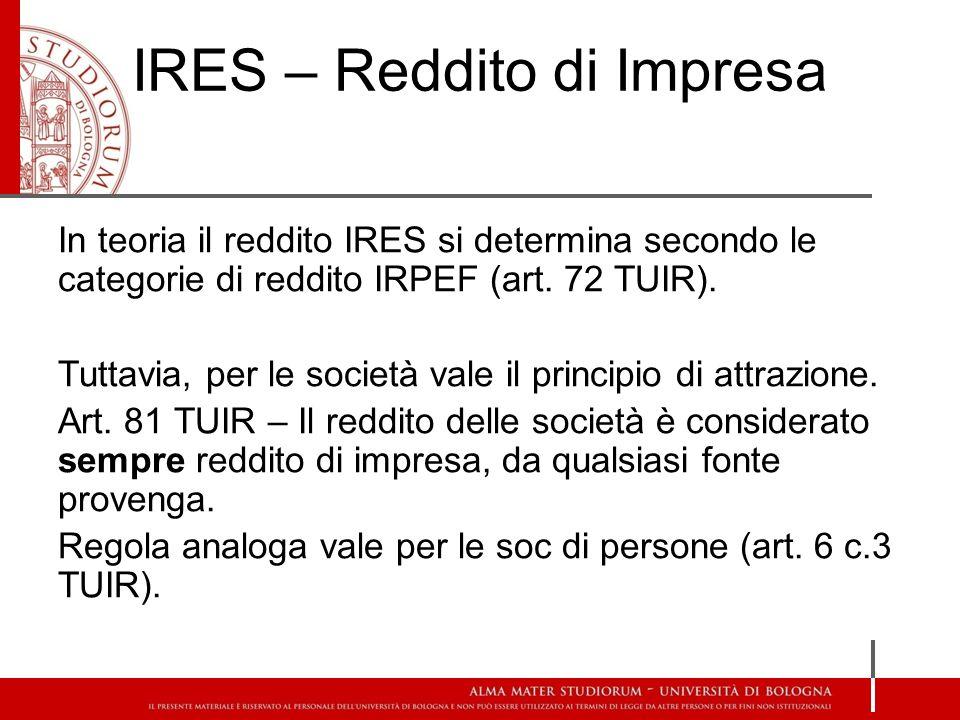 IRES – Reddito di Impresa In teoria il reddito IRES si determina secondo le categorie di reddito IRPEF (art.