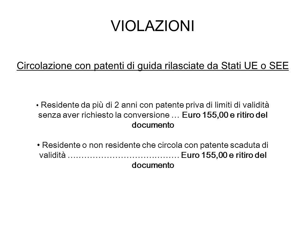 VIOLAZIONI Circolazione con patenti di guida rilasciate da Stati UE o SEE Residente da più di 2 anni con patente priva di limiti di validità senza ave