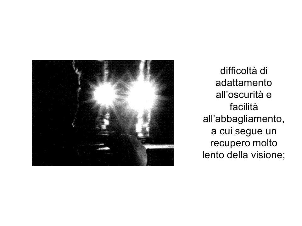 difficoltà di adattamento alloscurità e facilità allabbagliamento, a cui segue un recupero molto lento della visione;