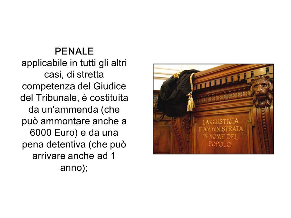PENALE applicabile in tutti gli altri casi, di stretta competenza del Giudice del Tribunale, è costituita da unammenda (che può ammontare anche a 6000