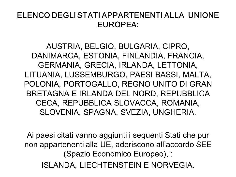 ELENCO DEGLI STATI APPARTENENTI ALLA UNIONE EUROPEA: AUSTRIA, BELGIO, BULGARIA, CIPRO, DANIMARCA, ESTONIA, FINLANDIA, FRANCIA, GERMANIA, GRECIA, IRLAN