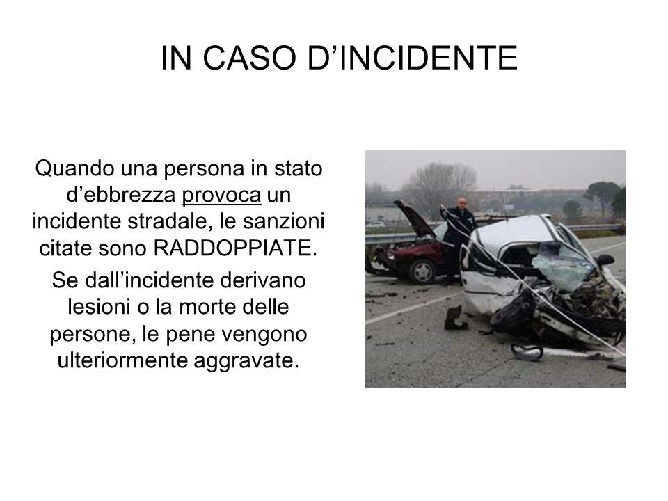 IN CASO DINCIDENTE Quando una persona in stato debbrezza provoca un incidente stradale, le sanzioni citate sono RADDOPPIATE. Se dallincidente derivano