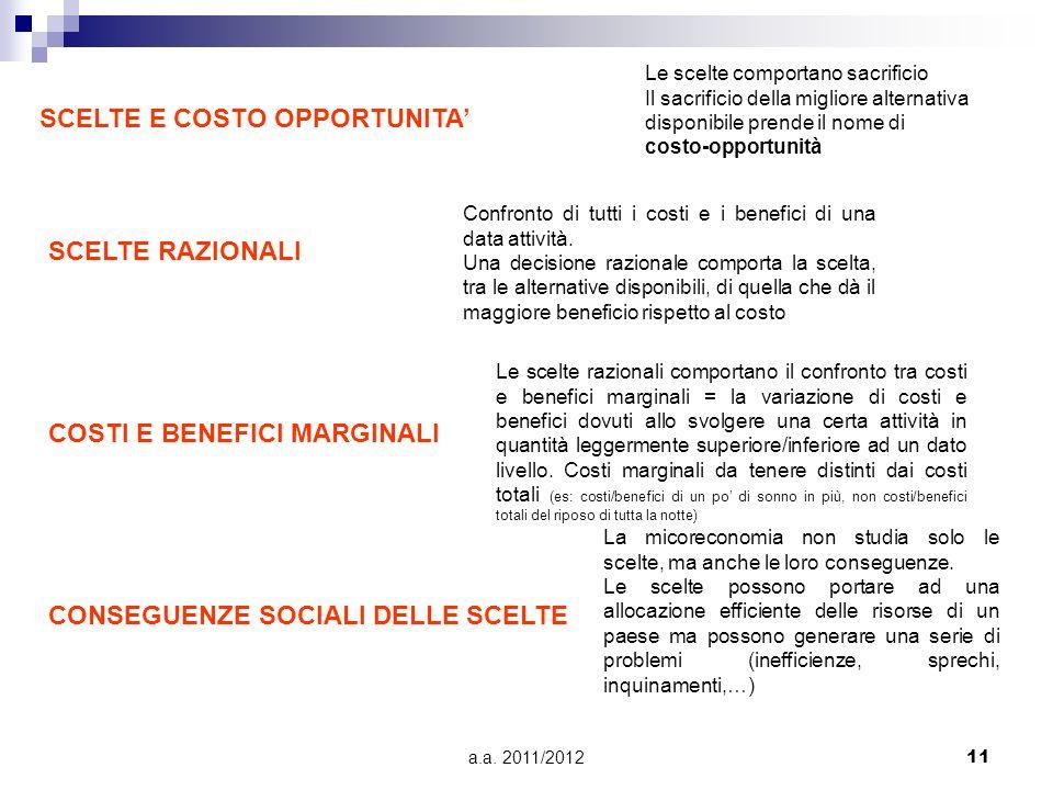 a.a. 2011/201211 SCELTE E COSTO OPPORTUNITA SCELTE RAZIONALI COSTI E BENEFICI MARGINALI CONSEGUENZE SOCIALI DELLE SCELTE Le scelte comportano sacrific