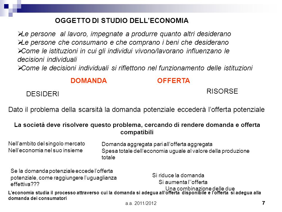 a.a. 2011/20127 OGGETTO DI STUDIO DELLECONOMIA Le persone al lavoro, impegnate a produrre quanto altri desiderano Le persone che consumano e che compr