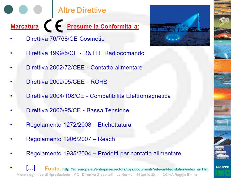 Vietata ogni tipo di riproduzione - IMQ - Direttiva Giocattoli – Le Norme – 14 aprile 2011 – CCIAA Reggio Emilia GRUPPO 11 Altre Direttive Direttiva 7