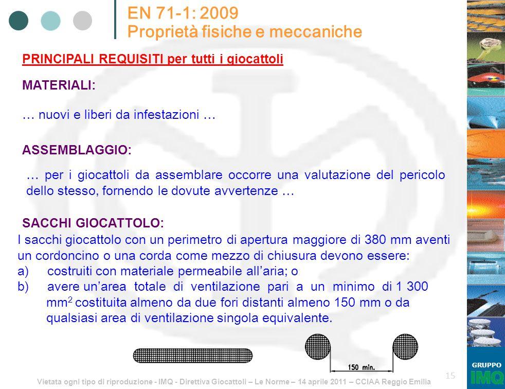 Vietata ogni tipo di riproduzione - IMQ - Direttiva Giocattoli – Le Norme – 14 aprile 2011 – CCIAA Reggio Emilia GRUPPO 15 EN 71-1: 2009 Proprietà fis
