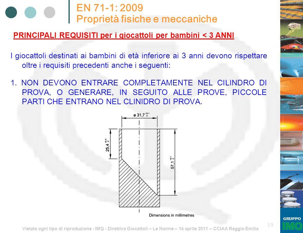 Vietata ogni tipo di riproduzione - IMQ - Direttiva Giocattoli – Le Norme – 14 aprile 2011 – CCIAA Reggio Emilia GRUPPO 19 EN 71-1: 2009 Proprietà fis