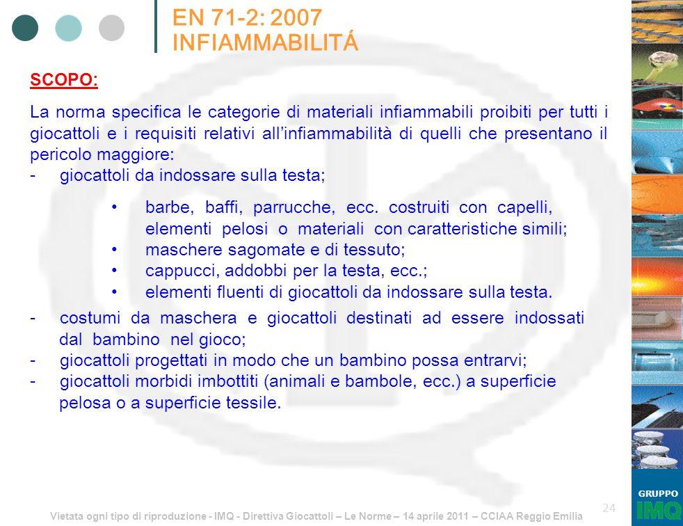 Vietata ogni tipo di riproduzione - IMQ - Direttiva Giocattoli – Le Norme – 14 aprile 2011 – CCIAA Reggio Emilia GRUPPO 24 EN 71-2: 2007 INFIAMMABILIT