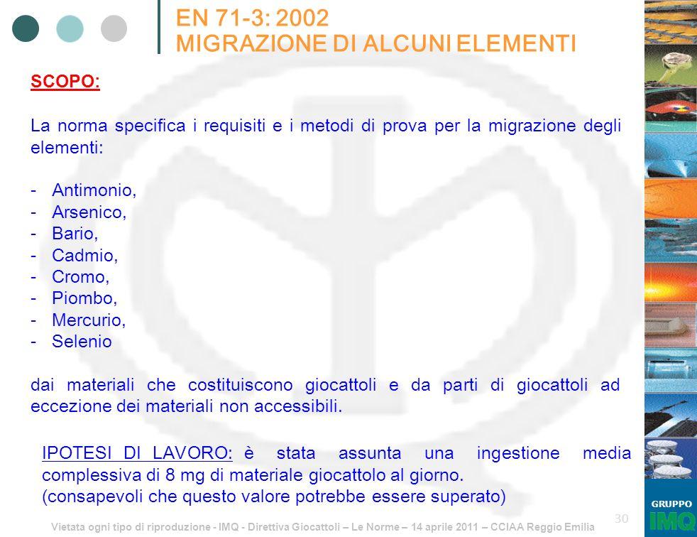 Vietata ogni tipo di riproduzione - IMQ - Direttiva Giocattoli – Le Norme – 14 aprile 2011 – CCIAA Reggio Emilia GRUPPO 30 EN 71-3: 2002 MIGRAZIONE DI