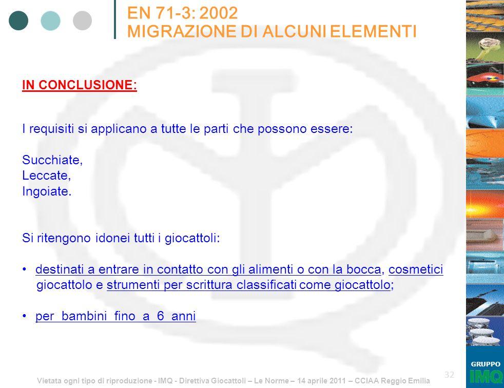Vietata ogni tipo di riproduzione - IMQ - Direttiva Giocattoli – Le Norme – 14 aprile 2011 – CCIAA Reggio Emilia GRUPPO 32 EN 71-3: 2002 MIGRAZIONE DI