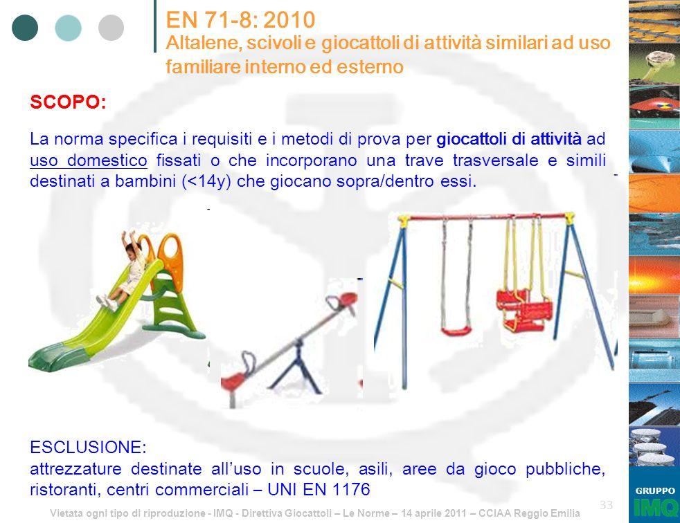 Vietata ogni tipo di riproduzione - IMQ - Direttiva Giocattoli – Le Norme – 14 aprile 2011 – CCIAA Reggio Emilia GRUPPO 33 EN 71-8: 2010 Altalene, sci