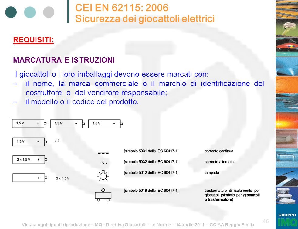 Vietata ogni tipo di riproduzione - IMQ - Direttiva Giocattoli – Le Norme – 14 aprile 2011 – CCIAA Reggio Emilia GRUPPO 46 CEI EN 62115: 2006 Sicurezz