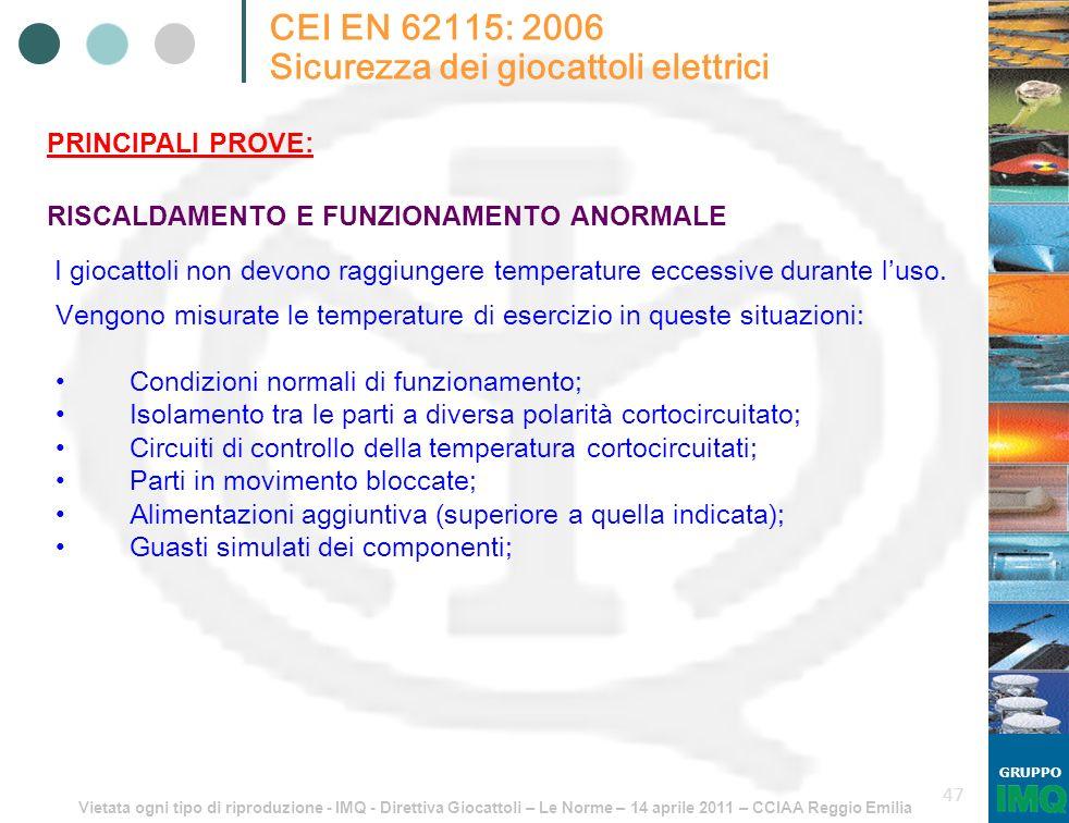 Vietata ogni tipo di riproduzione - IMQ - Direttiva Giocattoli – Le Norme – 14 aprile 2011 – CCIAA Reggio Emilia GRUPPO 47 CEI EN 62115: 2006 Sicurezz