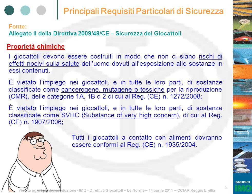 Vietata ogni tipo di riproduzione - IMQ - Direttiva Giocattoli – Le Norme – 14 aprile 2011 – CCIAA Reggio Emilia GRUPPO 5 Principali Requisiti Partico