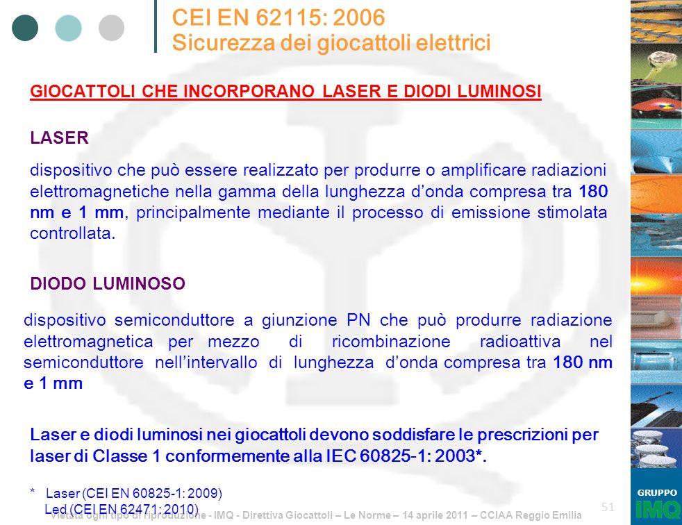 Vietata ogni tipo di riproduzione - IMQ - Direttiva Giocattoli – Le Norme – 14 aprile 2011 – CCIAA Reggio Emilia GRUPPO 51 CEI EN 62115: 2006 Sicurezz