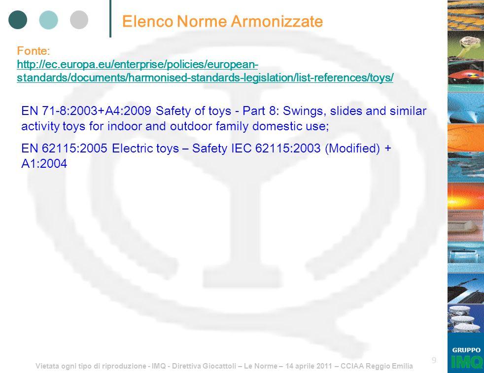 Vietata ogni tipo di riproduzione - IMQ - Direttiva Giocattoli – Le Norme – 14 aprile 2011 – CCIAA Reggio Emilia GRUPPO 9 Elenco Norme Armonizzate Fon