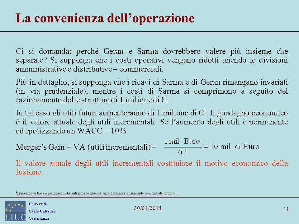 Università Carlo Cattaneo Castellanza 30/04/2014 11 La convenienza delloperazione Ci si domanda: perché Geran e Sarma dovrebbero valere più insieme ch