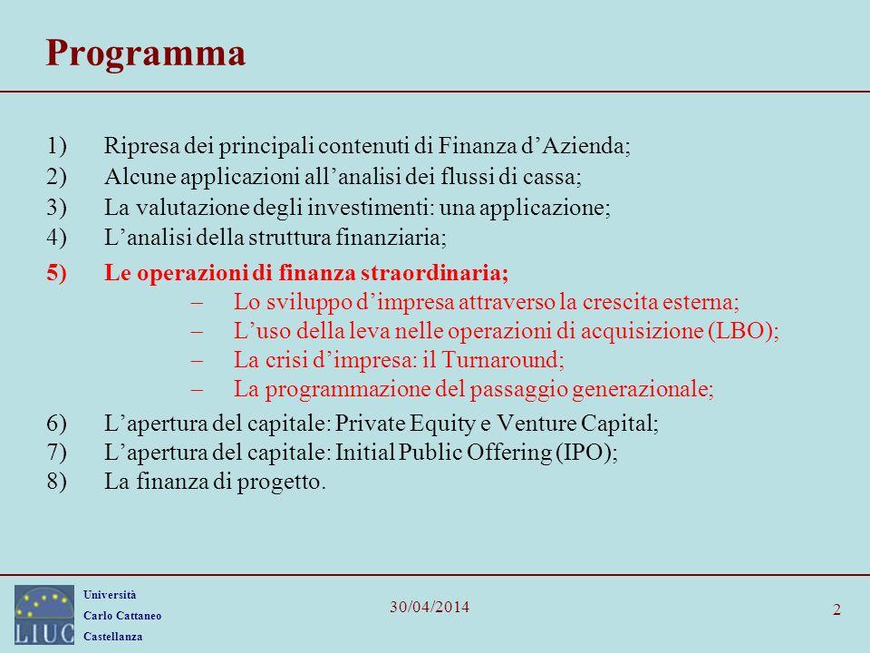 Università Carlo Cattaneo Castellanza 30/04/2014 2 Programma 1)Ripresa dei principali contenuti di Finanza dAzienda; 2)Alcune applicazioni allanalisi