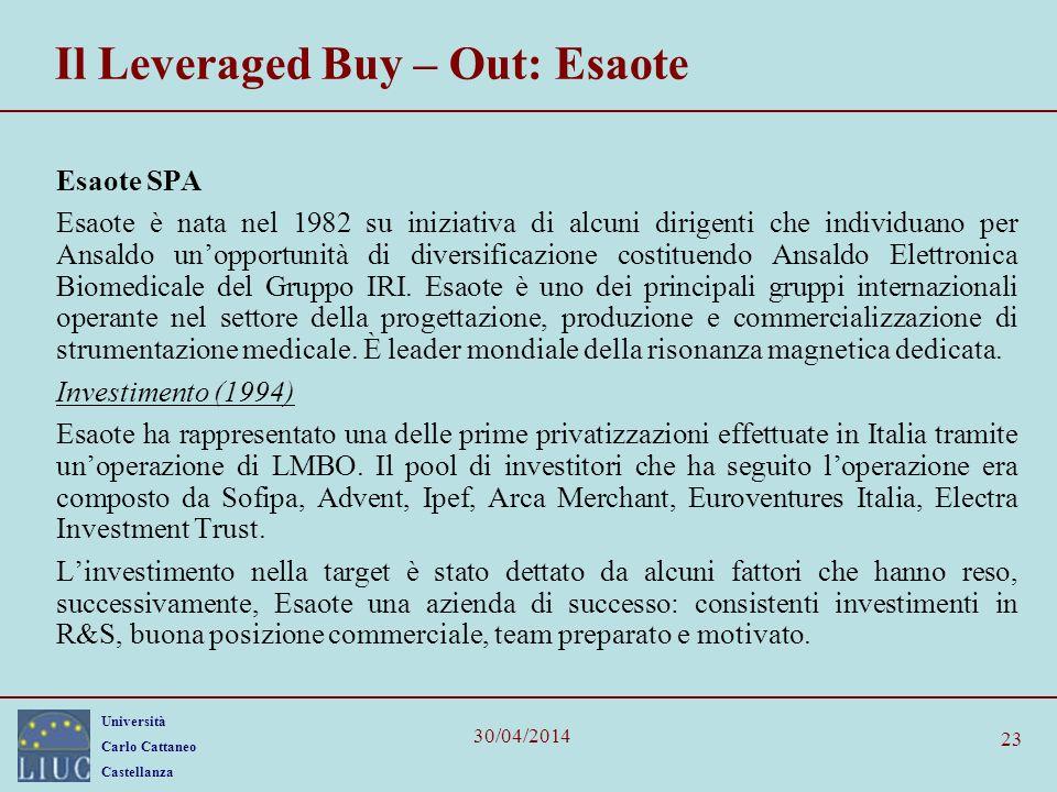 Università Carlo Cattaneo Castellanza 30/04/2014 23 Il Leveraged Buy – Out: Esaote Esaote SPA Esaote è nata nel 1982 su iniziativa di alcuni dirigenti