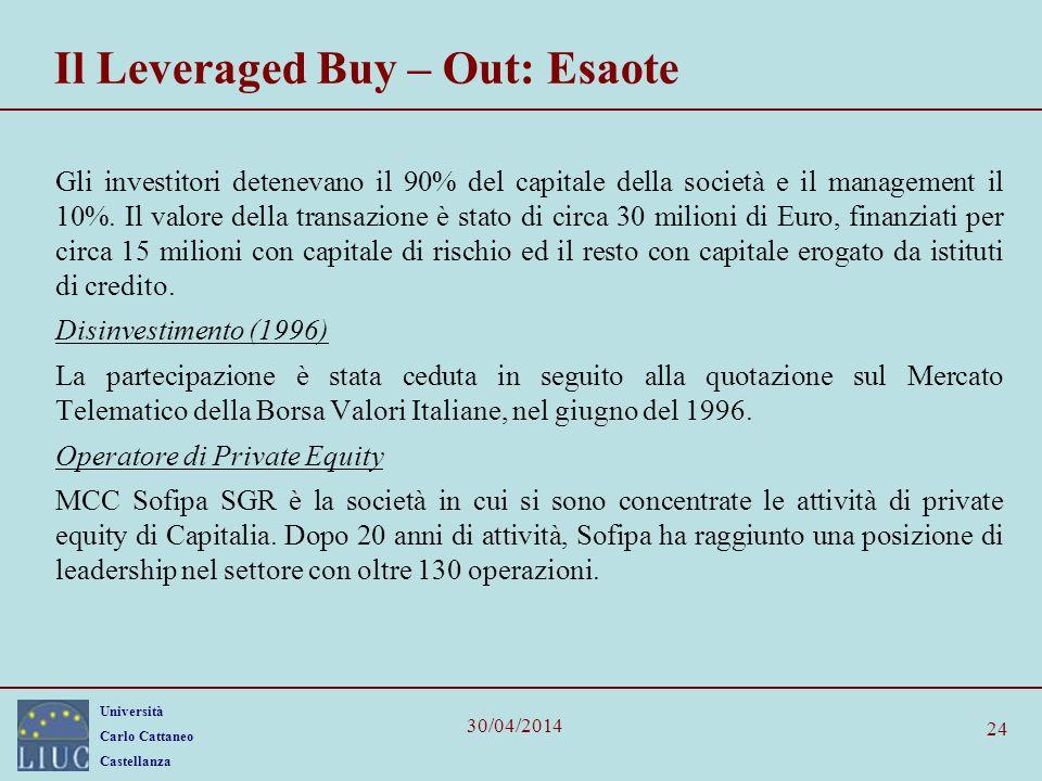 Università Carlo Cattaneo Castellanza 30/04/2014 24 Il Leveraged Buy – Out: Esaote Gli investitori detenevano il 90% del capitale della società e il m