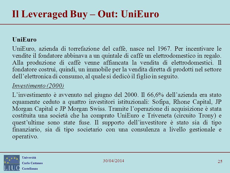 Università Carlo Cattaneo Castellanza 30/04/2014 25 Il Leveraged Buy – Out: UniEuro UniEuro UniEuro, azienda di torrefazione del caffè, nasce nel 1967
