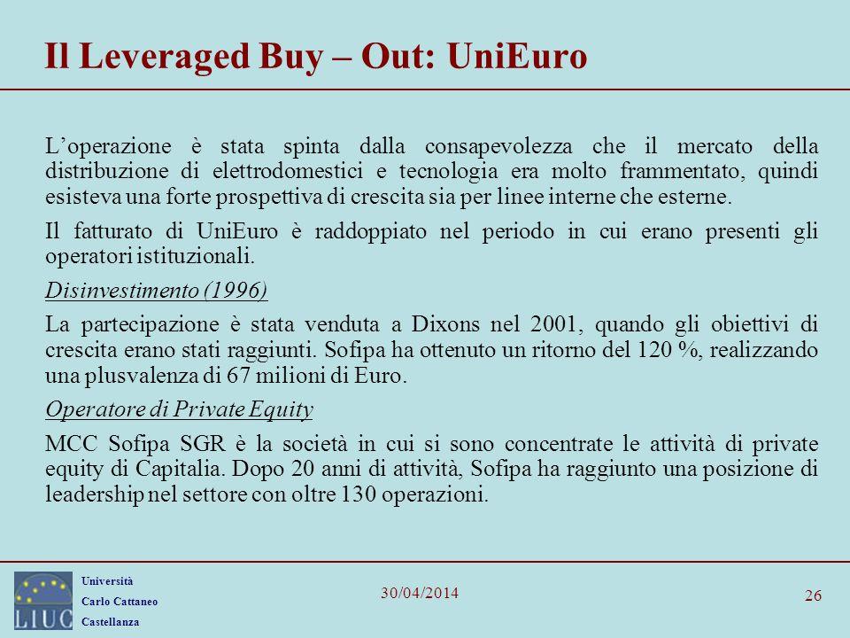 Università Carlo Cattaneo Castellanza 30/04/2014 26 Il Leveraged Buy – Out: UniEuro Loperazione è stata spinta dalla consapevolezza che il mercato del