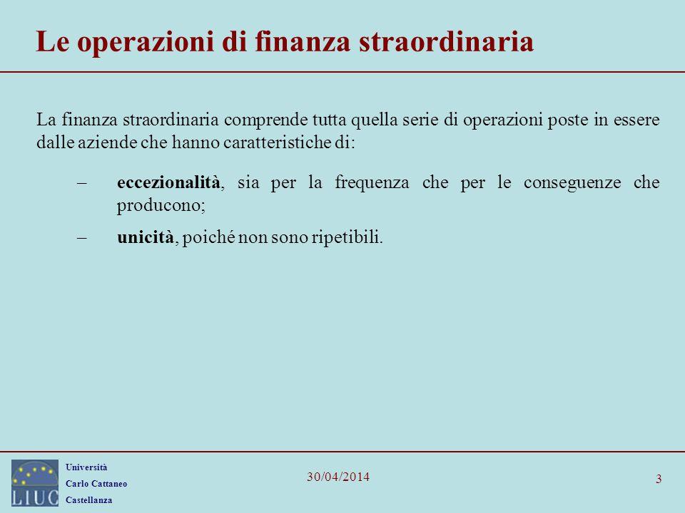 Università Carlo Cattaneo Castellanza 30/04/2014 4 Le tipologie Per operazioni di finanza straordinaria si intendono le seguenti operazioni: Acquisizioni (Acquisition); Fusioni (Merger); Leverage Buy – Out; Spin – off; Scissioni; Trasformazioni; Ristrutturazioni (Turnaround).