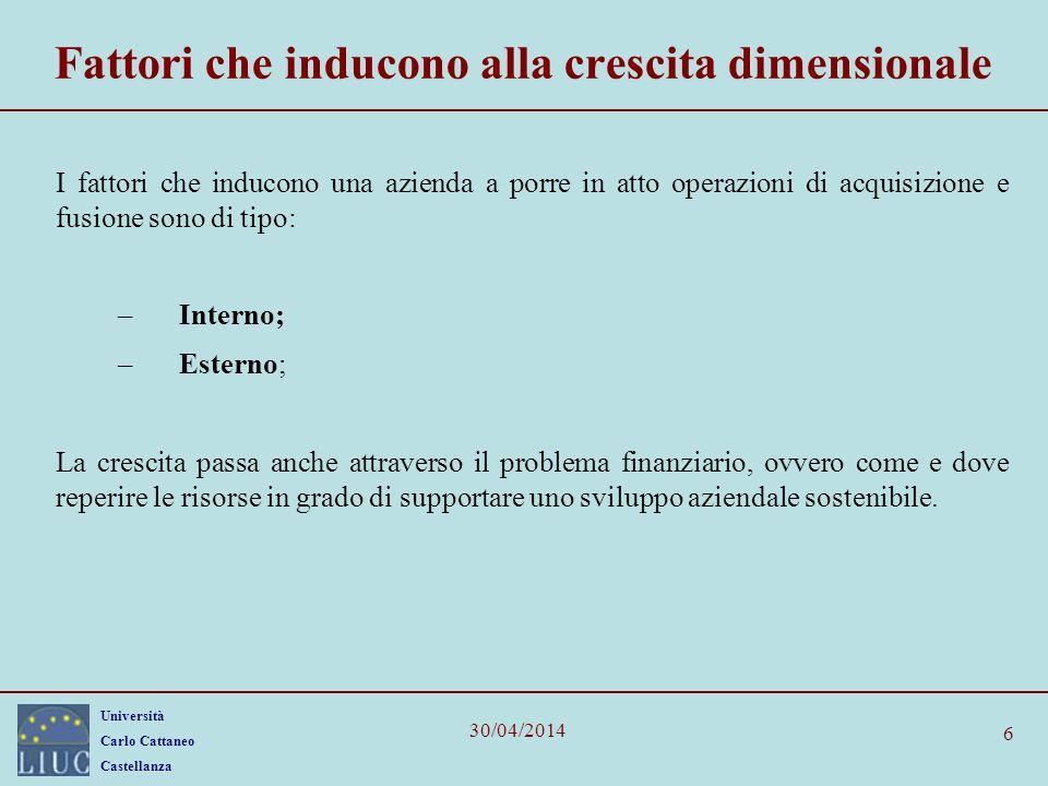 Università Carlo Cattaneo Castellanza 30/04/2014 7 Le strategie di crescita esterna: le acquisizioni Le operazioni di crescita esterna, sono: –le acquisizioni di società o di rami aziendali (se quotata OPA); –le fusioni fra società 1.