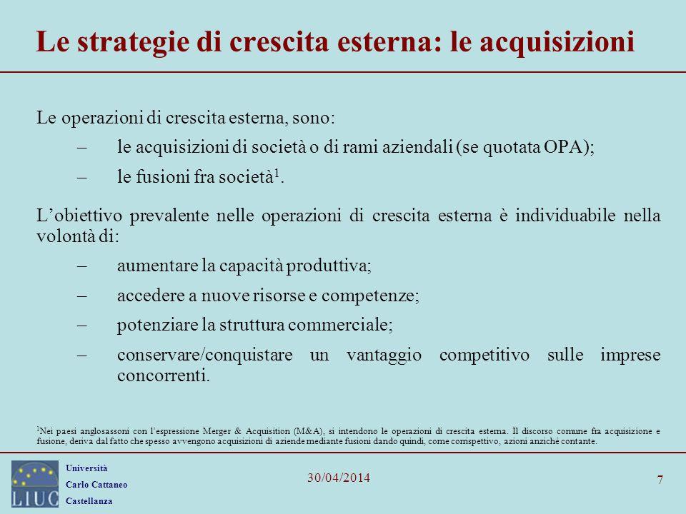 Università Carlo Cattaneo Castellanza 30/04/2014 28 Struttura tipica di LBO nuovo stile Senior debt30-40% Subordinated debt10-20% Totale capitale di terzi40-60% Prezzo di acquisizione90-95% Rimborso debiti preesistenti0-5% Mezzi liquidi addizionali e nuovi investimenti in circolante 0-5% Azioni privilegiate0-5% Azioni ordinarie40-50%Commissioni e spese2-6% Totale capitale proprio40-55% Disponibilità liquide del target0-5% Totale fonti100%Totale impieghi100%