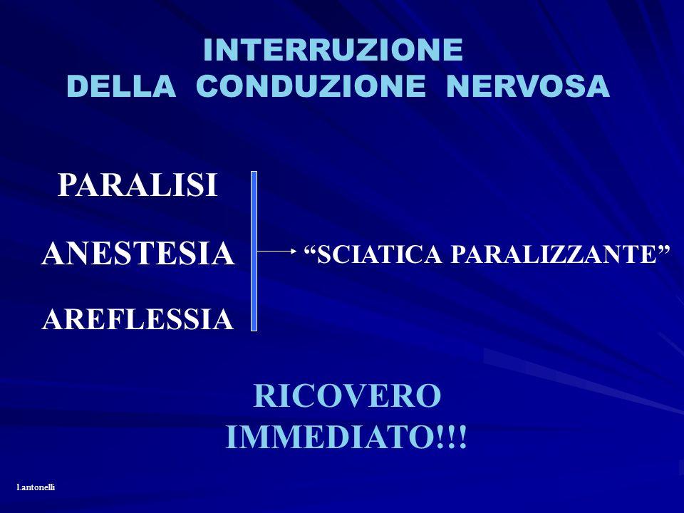 INTERRUZIONE DELLA CONDUZIONE NERVOSA PARALISI ANESTESIA AREFLESSIA SCIATICA PARALIZZANTE RICOVERO IMMEDIATO!!! l.antonelli