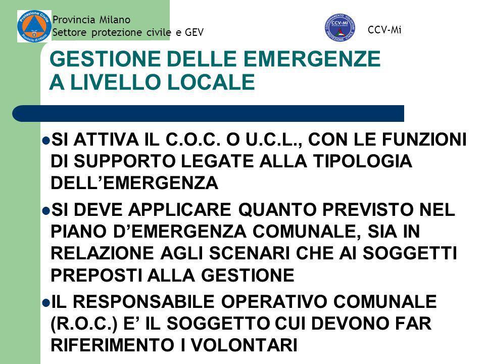 Provincia Milano Settore protezione civile e GEV CCV-Mi PROCEDURA DI ATTIVAZIONE IN VISTA O IN CASO DI EMERGENZE DI LIVELLO SOVRACOMUNALE QUALORA LEVENTO ABBIA RILEVANZA SOVRACOMUNALE ALLA RICHIESTA DI INTERVENTO PROVVEDE LA PROVINCIA IN TAL CASO, CON LA COLLABORAZIONE DEL CCV-MI, IL SETTORE PROTEZIONE CIVILE DELLA PROVINCIA PROVVEDE ALLA FORMALE ATTIVAZIONE DELLE ORGANIZZAZIONI DI VOLONTARIATO CON CUI SI SPECIFICA CHE: LE OO.VV.