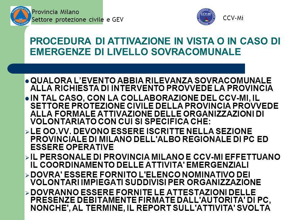 Provincia Milano Settore protezione civile e GEV CCV-Mi PROCEDURA DI ATTIVAZIONE IN VISTA O IN CASO DI EMERGENZE DI LIVELLO SOVRACOMUNALE QUALORA LEVE