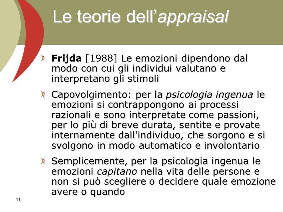 12 Le emozioni sorgono in risposta a situazioni che sono valutate come importanti per il soggetto.