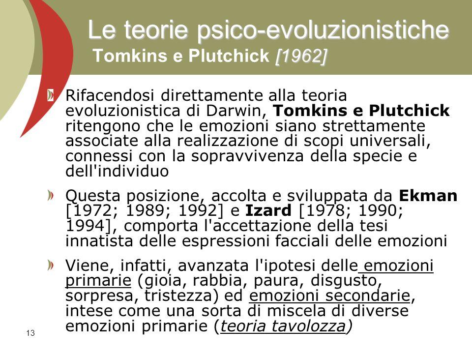 14 Le teorie psico-evoluzionistiche Le teorie psico-evoluzionistiche La prospettiva categoriale Riassumendo: 1.