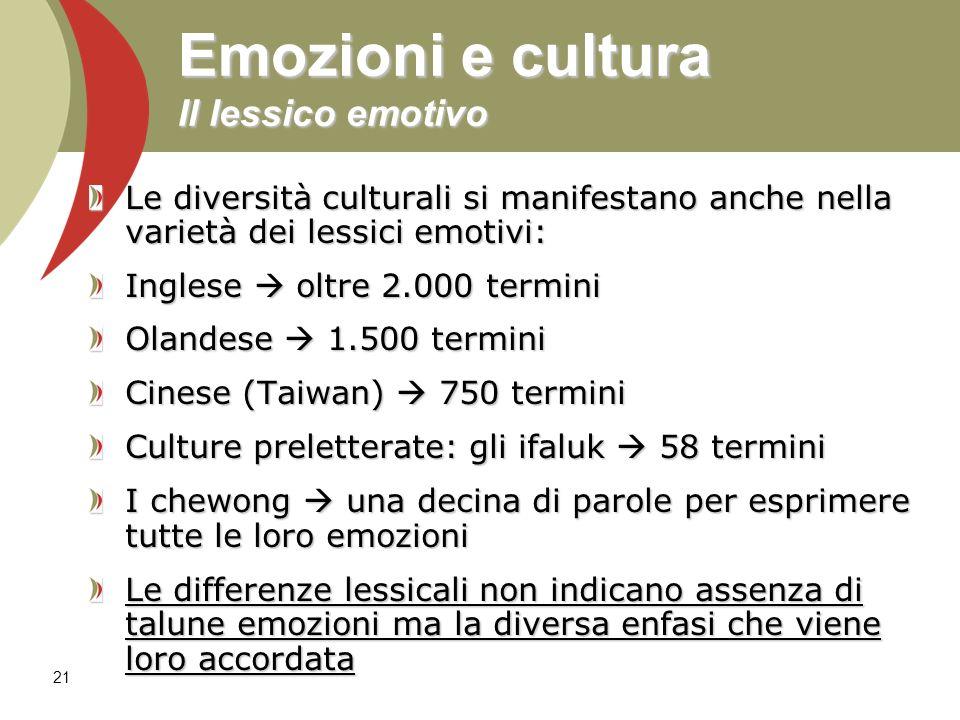 22 Emozioni e cultura Il lessico emotivo La varietà del lessico emotivo solleva problemi di traducibilità dei concetti e delle esperienze emotive da cultura all altra Il termine emozione non è universale.