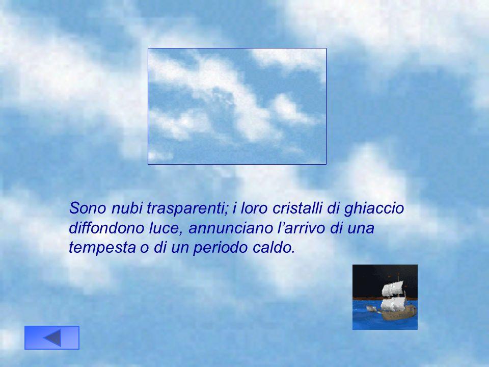 I cirri sono nuvole a forma di virgola o di piuma. Il loro colore è generalmente bianco. Sono costituite da cristalli di ghiaccio, annunciano larrivo