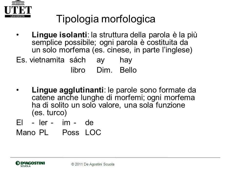 © 2011 De Agostini Scuola Tipologia morfologica Lingue isolanti: la struttura della parola è la più semplice possibile; ogni parola è costituita da un solo morfema (es.