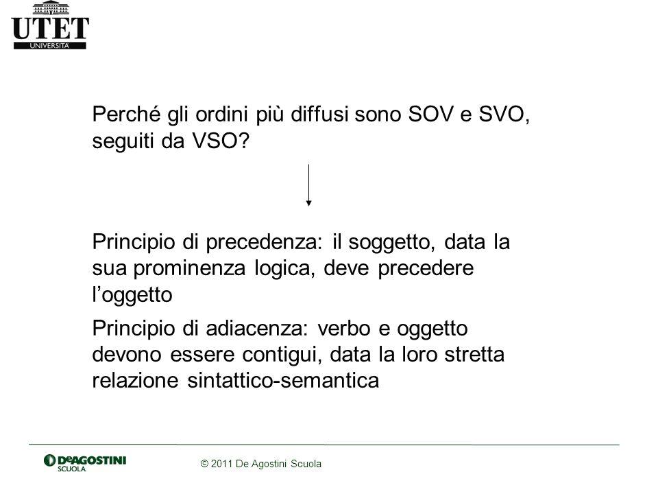 © 2011 De Agostini Scuola Perché gli ordini più diffusi sono SOV e SVO, seguiti da VSO.
