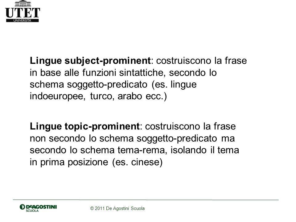 © 2011 De Agostini Scuola Lingue subject-prominent: costruiscono la frase in base alle funzioni sintattiche, secondo lo schema soggetto-predicato (es.