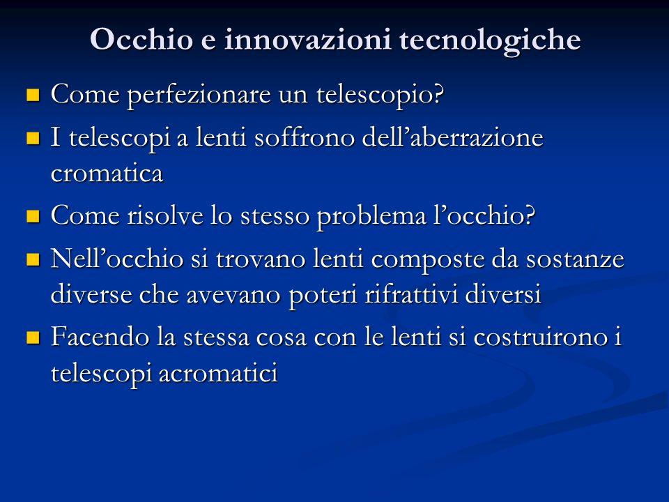 Occhio e innovazioni tecnologiche Come perfezionare un telescopio? Come perfezionare un telescopio? I telescopi a lenti soffrono dellaberrazione croma