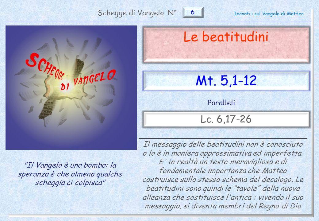 6 Le beatitudini (Mt.5,1-12) Il testo di Matteo e di Luca 2 Pag.