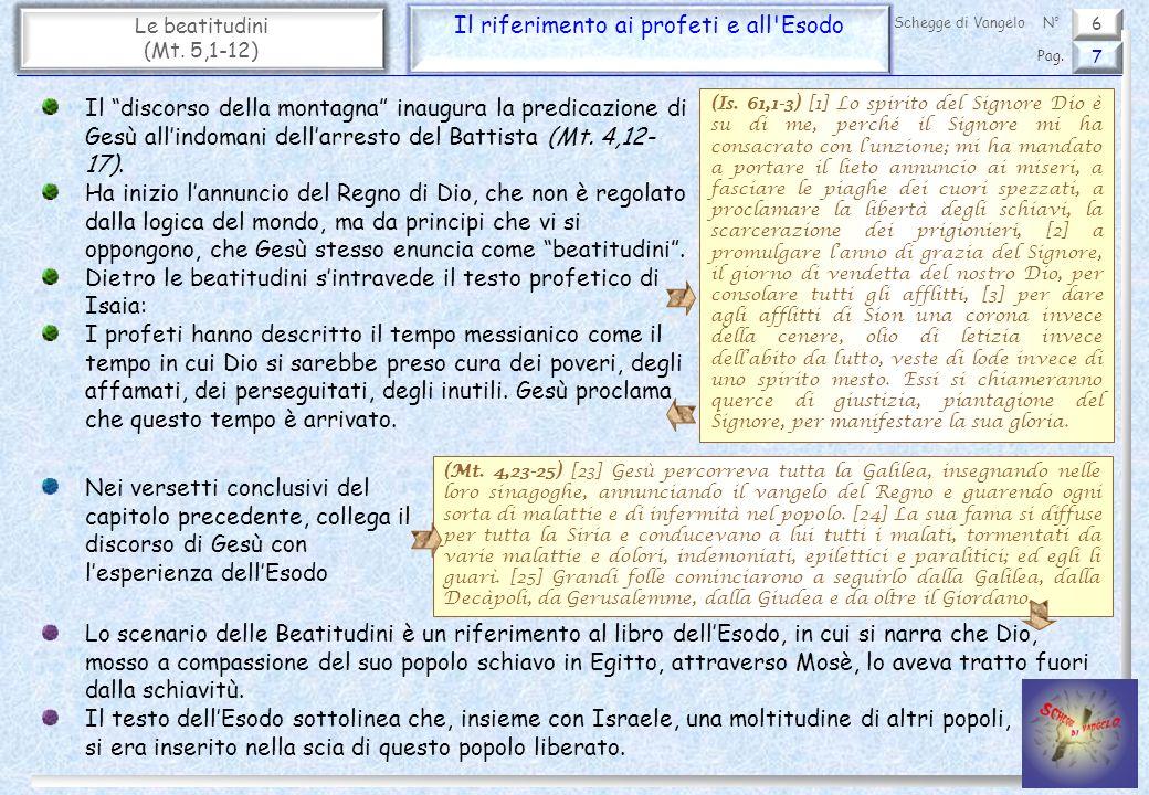 6 Le beatitudini (Mt.5,1-12) L inizio del brano 8 Pag.