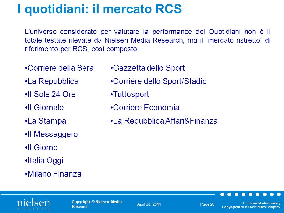 April 30, 2014 Confidential & Proprietary Copyright © 2007 The Nielsen Company Copyright © Nielsen Media Research Page 28 I quotidiani: il mercato RCS